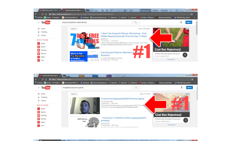 YouTube Ranking Results